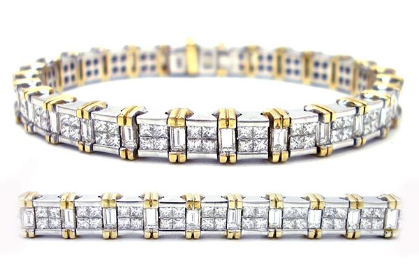 Two tone 18K Gold Princess Cut and Baguette Diamond Bracelet 8 ct