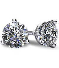 3-Prong Cocktail-Style Diamond Stud Earrings