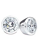 Bezel-Set Round Diamond Stud Earrings, G/H Color, SI Clarity (White Gold)
