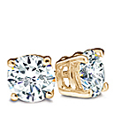 Round Diamond Stud Earrings, I Color, SI2 Clarity (Yellow Gold Prongs)