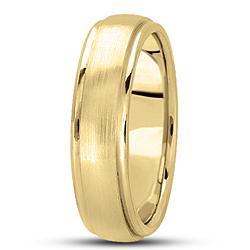 Brushed Detail Yellow Gold Men S Wedding Band 6mm