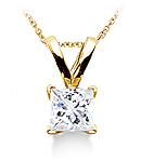 Princess-Cut Diamond Pendant (G/H Color, SI Clarity) set in Gold
