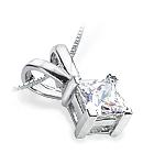 Princess-Cut Diamond Pendant (G/H Color, SI Clarity) set in White Gold