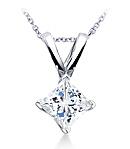 Princess-Cut Diamond Pendant (G/H Color, VS Clarity) set in Platinum