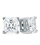 Princess-Cut Diamond Stud Earrings, G/H Color, VS Clarity (Platinum)
