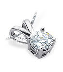 Round Diamond Pendant (G/H Color, SI Clarity) set in a White Gold Setting
