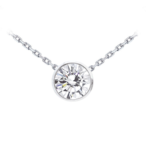 Bezel set round diamond pendant in white gold 13 ct tw bezel set round diamond pendant in white gold 13 ct tw mozeypictures Images