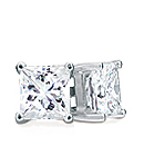 Princess-Cut Diamond Stud Earrings, I Color, SI2 Clarity (14K or 18K White Gold Prongs)