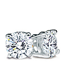 Round Diamond Stud Earrings, I Color, SI2 Clarity, (White Gold Prongs)