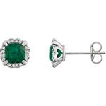14K White Gold Diamond & Emerald Birthstone Earrings 1/10 ct. tw.