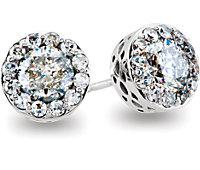 Diamond Burst Stud Earrings with Threaded Backs