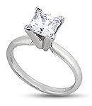 Princess-Cut Diamond Engagement Rings in White Gold <BR>(H/I Color, SI Clarity)