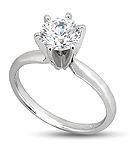 Six-Prong Round Diamond Engagement Ring avail in 14K or 18K White Gold<BR>(H/I Color, SI Clarity)