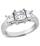 Three-Stone Diamond Engagement Rings in White Gold (H/I Color, SI Clarity)