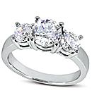 Three-Stone Diamond Engagement Rings in Platinum (G/H Color, VS Clarity)
